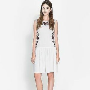 Zara white sheer embroiderd dress